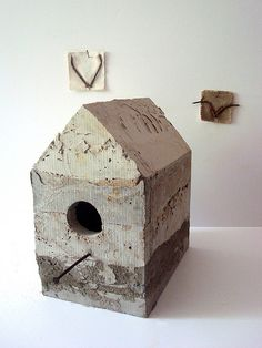 Birdhouse - concrete, nails (with two birds), sculpture  Sharon Pazner