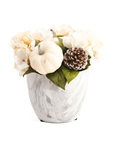 10in Faux Hydrangea In Marbled Pot