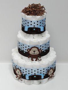 Blue Brown Monkey Diaper Cake Baby Shower Centerpiece