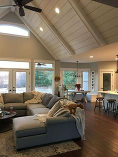 10 Friendly Cool Tips: Livingroom Remodel Grey Walls living room remodel before and after countertops.Living Room Remodel With Fireplace Light Fixtures small living room remodel life.Living Room Remodel On A Budget How To Make. Design Living Room, Home Living Room, Living Room Decor, Living Room Ceiling Ideas, Small Living Room Sectional, Living Room And Kitchen Together, Vaulted Living Rooms, Living Room Flooring, Living Room Kitchen
