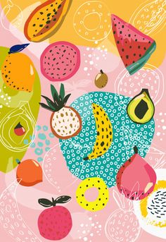 Fruit Illustration, Graphic Design Illustration, Graphic Patterns, Print Patterns, Design Floral, Iphone Background Wallpaper, Fruit Pattern, Art Deco Design, Pattern Wallpaper