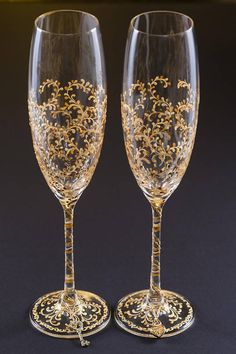 Gold Wedding Glasses Wedding Flutes Champagne Gold Glasses