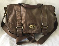 Fossil Messenger 1954 Large Crossbody Attache Book Bag Bronze Leather Excellent! in Clothing, Shoes & Accessories, Women's Handbags & Bags, Handbags & Purses   eBay