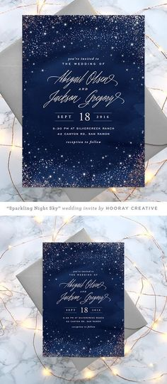"""""""Sparkling Night Sky"""" - Rustic, Formal Foil-pressed Wedding Invitations in Midnight by Hooray Creative. * You can get additional details in this image #WeddingInvitation"""