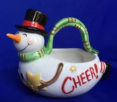Fitz and Floyd Snowman Basket Holiday Home Christmas Candy Dish Ceramic Cheer…