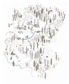 Illustrated map of Red Mountain Resort, Rossland, BC, 2011 - Sarah Burwash Street Art Graffiti, Art And Illustration, Mountain Illustration, Map Design, Art Graphique, Map Art, Illustrators, How To Draw Hands, Artsy