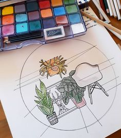 🌿Préparation pour future broderie.🌿 . . #dessin #broderie #plantes #plantesaddict #indoorplants #plants #urbanjungle #houseplants #embroidery #draw #deco #platyceriumalcicorne #calathea #sansevieria