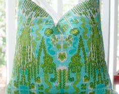 Decorative Pillow Cover - Aqua Teal Green Citrine Blue Trellis Ikat Pillow Cover - Throw Pillow
