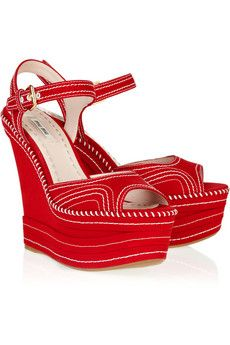 1950192e35b Miu Miu - Canvas platform wedge sandals