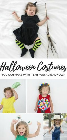 DIY Toddler Halloween costumes that you can make with items you have around the house. Easy and inexpensive costumes for kids. DIY costumes for kids. creative costumes ideas for kids. Costumes Alien, Toddler Witch Costumes, Baby Witch Costume, Toddler Girl Halloween, Costumes Kids, Inexpensive Halloween Costumes, Halloween Costumes You Can Make, Easy Diy Costumes, Diy