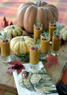 Roasted Butternut-Apple and Pumpkin Soup Shooters! A teaser appetizer to serve your guests and whet their appetite for the Thanksgiving feast. #soup #Thanksgiving