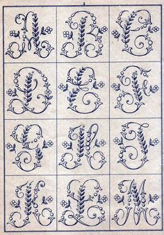 Ribbon Embroidery Patterns Free Easy Cross, Pattern Maker, PCStitch Charts Free Historic Old Pattern Books: Sajou No 346 Embroidery Alphabet, Embroidery Monogram, Cross Stitch Alphabet, Hand Embroidery Stitches, Silk Ribbon Embroidery, Vintage Embroidery, Embroidery Art, Cross Stitch Embroidery, Machine Embroidery