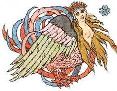Alkonost é o pássaro do paraíso na Mitologia Eslava. Ela tem o corpo de um pássaro com rosto de mulher. O nome Alkonost vem de semi-deusa grega Alcíone transformada pelos deuses em um martim-pescador. A Alkonost se reproduz botando seus ovos na costa marítima e depois colocando eles na água. O mar então se acalma por seis ou sete dias ao ponto que os ovos chocam, formando uma tempestade.