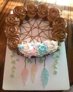 Dream Catcher Baby Shower Cupcake Cake