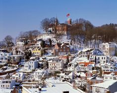 Blankenese in wintertime with snow, view to Süllberg, Hamburg, Germany