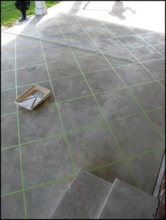 Back patio makeover using tape and concrete stain. Wish my patio looked like this. Tile Patio Floor, Patio Flooring, Cement Patio, Concrete Patios, Concrete Porch, Garage Flooring, Stained Concrete, Concrete Floors, Concrete Staining