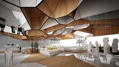 Flagship Store/ Event Space, 2014 I love the detail in this Design Commercial, Commercial Interiors, Parametric Design, Space Architecture, Organic Architecture, Retail Interior, Retail Space, Ceiling Design, Office Interiors