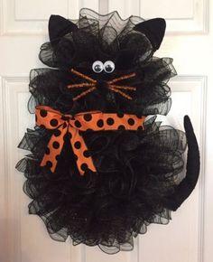 "22"" x 18"" Handmade Halloween Deco Mesh Black Cat Wreath With Bow"