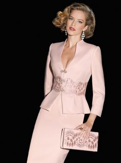 Mother of the bride suit dresses can normally be used for many formal special occasions. This pastel pink colored mother of the bride ensemble has an embellished band near the waist of the long sleeve jacket. The style of the mother of the bride jacket i Elegant Outfit, Elegant Dresses, Formal Dresses, Mothers Dresses, Bride Dresses, Wedding Dresses, Groom Dress, I Dress, Peplum Dress