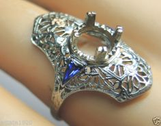 Antique Engagement Ring Setting Mounting Mount Hold 7MM 18KW Art Deco Vintage Ring Size ~ 6.25 UK-M