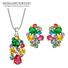 Zinc Alloy Colorful Austrian Rhinestone Fashion Necklaces Earrings Jewelry Sets Wedding Charm  New Indian Gifts