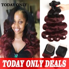 Hair Weft Closure ( Bang) 10A 1b 99J Burgundy Brazilian Virgin Hair Body Wave with Closure Ombre Brazilian Hair Bundles with Lace Closure Annabelle Hair * AliExpress Affiliate's Pin. Detailed information can be found by clicking on the VISIT button
