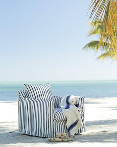 Serena's favorite outdoor chair for so many reasons. Now in stripes. #serenaandlily