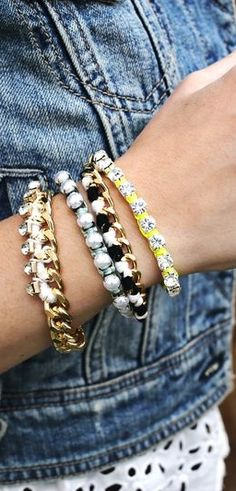 DIY Arm Paty -- Rhinestone Bracelets and fancy friendship bracelets