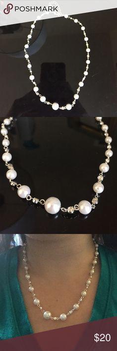 Silver and pearl necklace Silver and pearl necklace. Adorable rhinestone embellishments. NWOT. Jewelry Necklaces