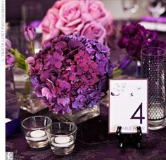 "hydrangea centerpiece, table card w/ number like that and ""table"" in aphrodite font"