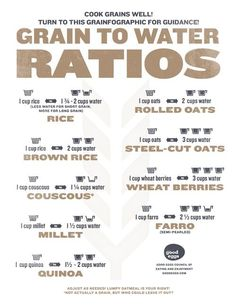 Cooking #Grains: Grain to Water Ratios Chart
