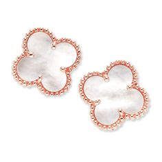 Van Cleef & Arpels Earrings in rose gold. 10% of each purchase will be donated to the Breast Cancer Research Foundation $4,400.