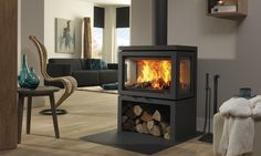 DRU – Vidar Triple is a freestanding wood stove with windows on 3 sides – Freestanding fireplace wood burning Living Room, Room, Home, Home Fireplace, Wood Fireplace, Freestanding Fireplace, Modern Wood, Fireplace, Wood Burning Fireplace