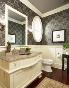 #Decor: #Wallpaper and wainscoting make a perfect match