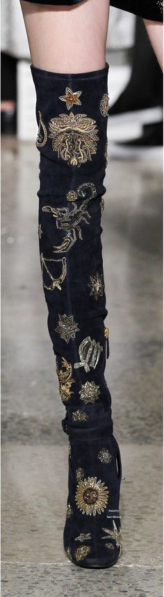 Emilio Pucci ~ Crystal Embroidered Over the Knee Black Suede Boots, FW 2015-16
