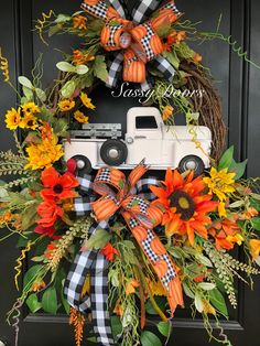 fall wreaths Fall Truck Wreath- Truck Wreath - Farmhouse Truck Wreath- Wreath With Truck, Vintage Truck Decor, SassyDoors Wreath, Fall Mesh Wreaths, Diy Fall Wreath, Autumn Wreaths, Wreath Ideas, Fall Deco Mesh, Spring Wreaths, Fall Diy, Thanksgiving Wreaths, Thanksgiving Decorations