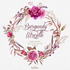 Watercolor Burgundy Wreaths with Floral elements by ReachDreams