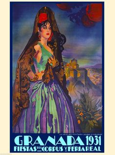1931 Granada Spain Fiestas Spanish Senorita Vintage Travel Advertisement Poster | eBay