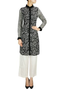 Black embroidered printed sleeves tunic available only at Pernia's Pop-Up Shop.