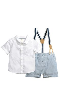 Shirt and shorts set in woven cotton fabric. Short-sleeved shirt with a collar, buttons at front, and chest pocket. Shorts with adjustable Toddler Boy Fashion, Little Boy Fashion, Toddler Boy Outfits, Fashion Kids, Kids Outfits, Short Blanc, H&m Baby, H&m Kids, Children