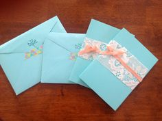 Thank you cards, tiffany blue cards with net curtain lace and peach ribbon.