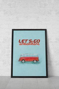 Travel Poster VW Bus Volkswagen Bus Samba by MerhabMachines, $5.00 #kombilove