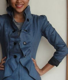 Ruffled Jacket Blazer with Fitted Princess Seams and High Collar in Denim Color