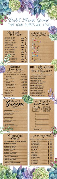 Bridal shower games that are unusual, unique, and will match nearly any theme! . bridal shower games,bridal shower,bridal shower game,rustic bridal shower,succulent,succulents,succulent bridal shower,greenery,greenery bridal shower