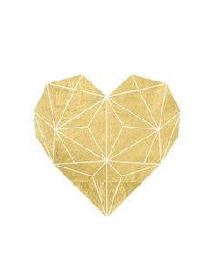 Gold Foil Geometric Heart Printable: Solid - The Bold Abode