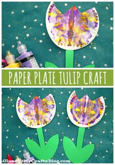 Paper Plate & Paint Splat Tulip – Craft Idea For Spring - Frühling - - Preschool Crafts, Easter Crafts, Kids Crafts, Arts And Crafts, Crafts For Babies, Garden Crafts For Kids, Christmas Crafts, Preschool Christmas, Christmas Ornament