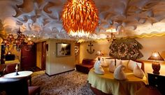 Coconut Cream Pie Suite at the Roxbury Hotel, NY... Love the cream puffs on the circular bed!