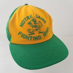 Vintage Notre Dame Fighting Irish Snapback Hat Ball Cap Puff Print Made in USA by TraSheeWomen on Etsy Fighting Irish, Hats For Sale, Snapback Hats, Notre Dame, Cap, Trending Outfits, Unique Jewelry, Handmade Gifts, How To Make