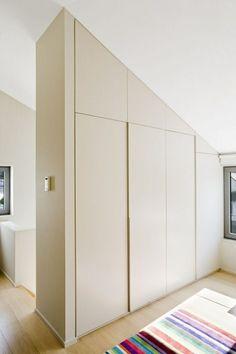 Built-in wardrobe with handle-free sliding doors in cream - Dachschräge - Door Design Room Divider Bookcase, Living Room Divider, Room Divider Walls, Diy Room Divider, Divider Cabinet, Fabric Room Dividers, Wooden Room Dividers, Hanging Room Dividers, Folding Room Dividers