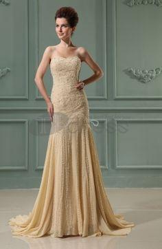 Long Evening Dresses-Sweetheart Sleeveless Chiffon Chapel Train Bridal Gowns